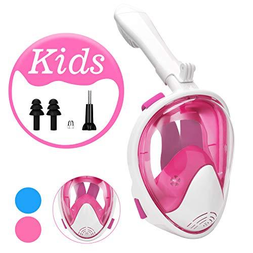 Qkurt Masque de Tuba Plein Visage, Masque de Snorkeling de Vue de 180° degrés avec Support de caméra d'Action Amovible et Conception de Respiration Facile pour Les Enfants