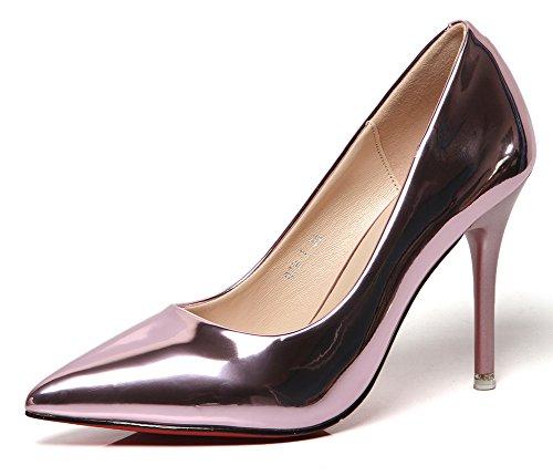 Aisun Damen Sexy Lack Kunstleder Spitz Zehen Low Top Stiletto High Heels Pumps Violett