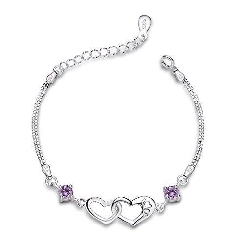 Bo&Pao 925er Sterling Silber Lila Herz neben Herz Damen Armband mit Gravur I Love U, 15,5 + 3cm Verstellbare Platinierte Armkette
