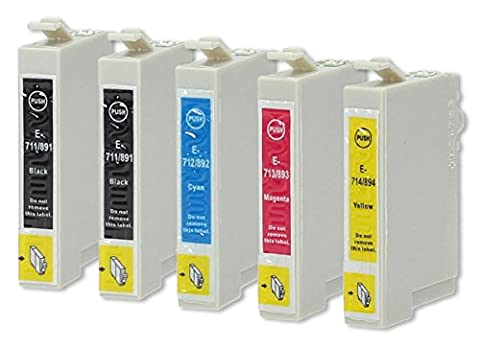 5 Druckerpatronen kompatibel zu Epson T0715 (2x Schwarz, 1x Cyan, 1x Magenta, 1x Gelb)