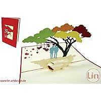 LIN - Pop Up 3D Biglietto di auguri per un matrimonio omosessuale, Uomini sotto albero arcobaleno (#208)