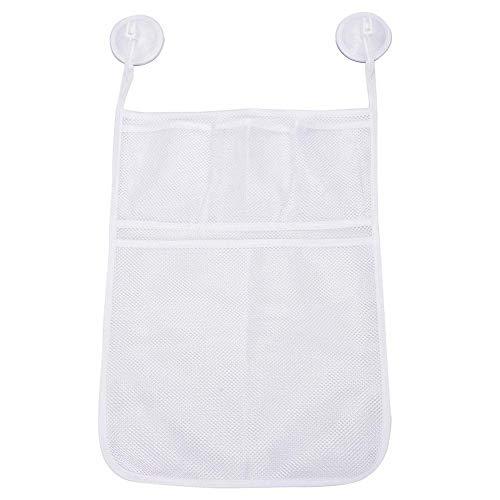 Bad-Spielzeug-Organizer Quick Dry Badewanne Ineinander greifen-Netz Massiver Baby-Spielzeug-Vorratsbehälter Seife Tasche mit 4 Absaug- Hooks Weiß 1set - Weiße Bio-seife