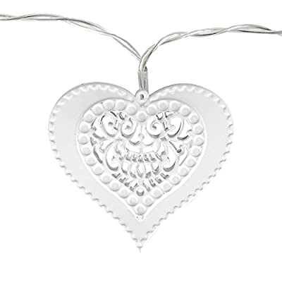 Battery Operated 10 White Decorative Filigree Lattice Heart Shaped Fairy String Lights