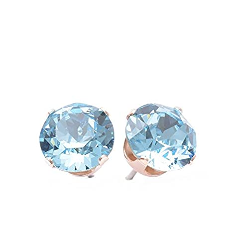 pewterhooter 9mm Rose Gold stud earrings expertly made with Aquamarine Blue crystal from SWAROVSKI®.