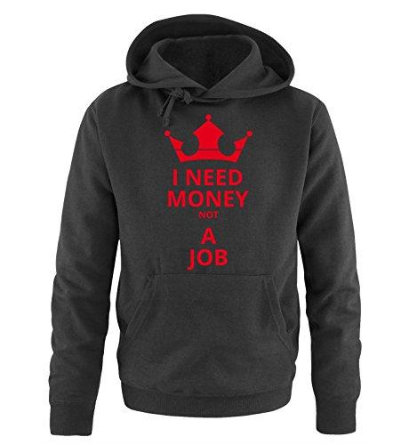 I Need Money not A Job - Herren Hoodie - Schwarz/Rot Gr. M