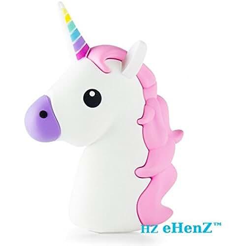 unicornios kawaii eHenZ © 3300 mAh de la batería externa unicornio blanca rosa banco de energía de la batería de respaldo emoji inteligente sistema de carga de 5 protección de tecnología, 2 cables USB Micro Android, iOS iphone 7,6,5