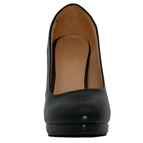 AalarDom Damen Rund Zehe Pu Leder Weiches Material Ziehen Auf Blockabsatz Pumps Schuhe Schwarz-Rissen