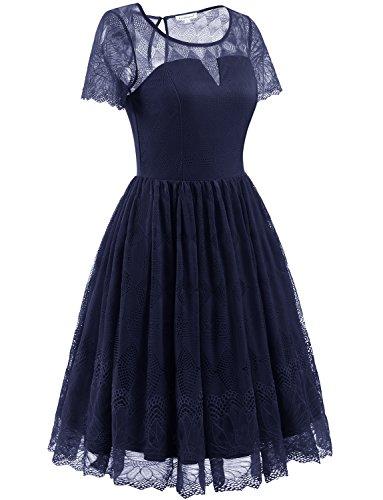 Gardenwed Vintage 1950er Retro Spitzenkleid Cocktailkleid Kurzarm Abendkleid Brautjungfernkleid Partykleid Navy