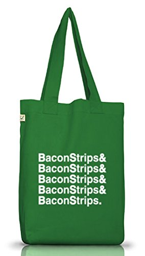 Shirtstreet24, Bacon Strips &, Epic Meal Time Jutebeutel Stoff Tasche Earth Positive Moss Green