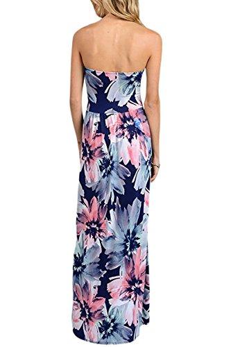 YMING abito da sposa da donna in stile floreale Boho Style Print Beachwear copri-UP abito maxi con tasca S-XL Blu scuro, fiore rosa