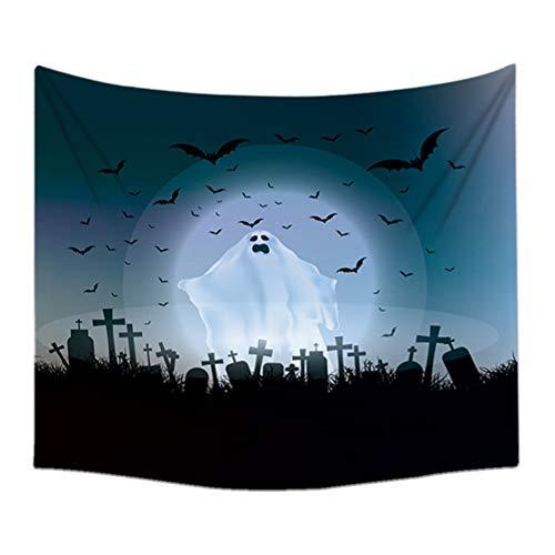 Doitsa Tapiz murales Halloween Tema Decoración, murciélago Fantasma de Terror Noche tapicería Pared Blanco y Negro, 150* 130cm