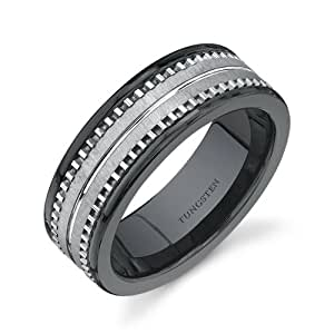 Revoni Flat Edge 7 mm Comfort Fit Mens Black Ceramic and Tungsten Combination Wedding Band Ring Size P 1/2,