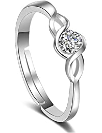 Shining Diva Fashion AAA Crystal Romantic Stylish Silver Plated Ring for Women (9860r)