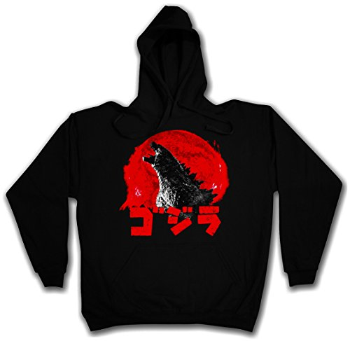 GODZILLA VINTAGE LOGO PULLOVER SWEATER SWEATSHIRT MAGLIONE FELPE CON CAPPUCCIO - Japan Goijra Tokyo Nippon King Monster Kong Taglie S - 2XL