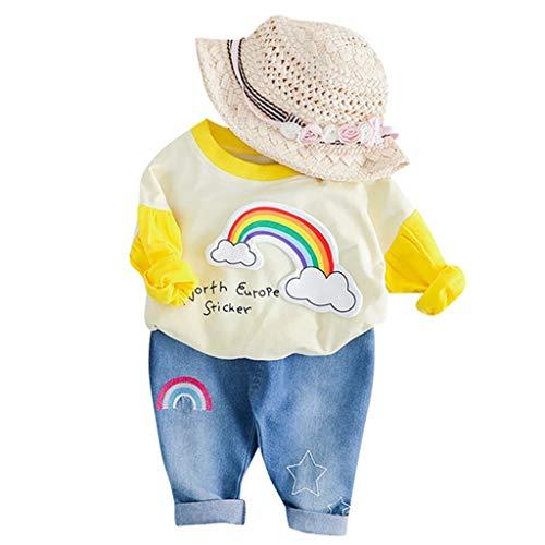 JUTOO 2 Stücke Set Kleinkind Kinder Baby Mädchen Regenbogen Print T-Shirt Tops Jeans Hosen Outfits Set (Gelb,70/6)