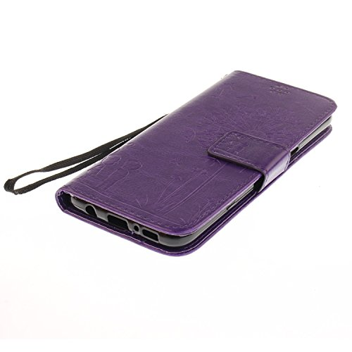 Für Samsung Galaxy S8 Plus Solid Color Case mit geprägtem Löwenzahn Pattern Premium Soft PU + TPU Leder Notizbuch Brieftasche Stand Case mit Karte Cash Slots & Stand / Kickstand & Lanyard ( Color : Go Purple