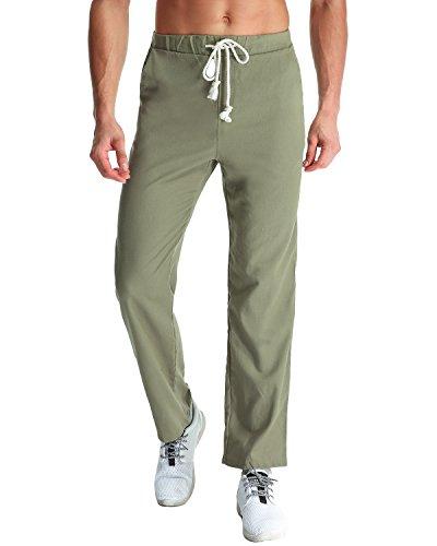 MODCHOK Herren Jogginghose Leinen Hose Freizeithose Sporthose Cargo Pants Schwarz Dunkelgrau (M, Armeegrün)