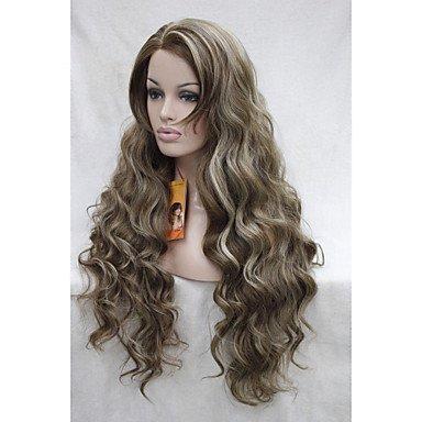 HJL-Spitzefrontseite hochwertige Hitze-freundliche synthetische Haare hellbraun mit blonden Highlights wellenförmige lange volle Perücke (Erweiterungen Remy-haar-highlight)