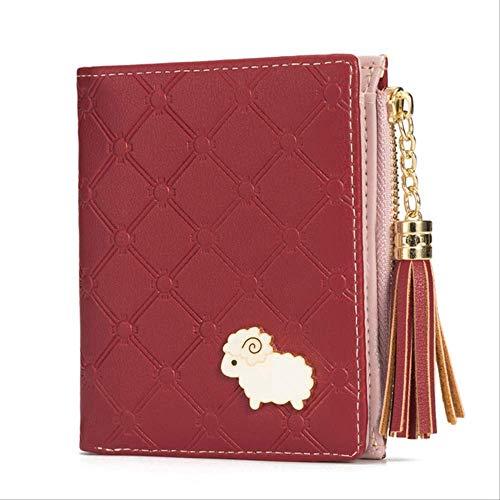 BUDIAN Brieftasche 2019 New Women Wallets Short Cartoon Coin Purse Lamb Hardware Tassel Womens Wallets and Purses Zipper PurseRed - Tan Womens Shorts