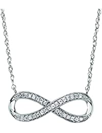 14ct oro blanco 0,10ct. Diamond Collar–46cm