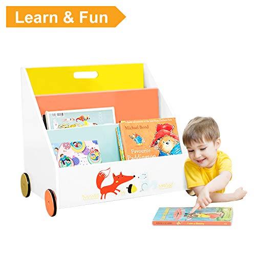 Labebe Kinder Bücherregal mit Rädern