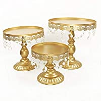 Victoria Style Antique Golden Crystal Cake Stand, Round Plate Metal Dessert Cupcake Pedestal Wedding Party Display with Crystals