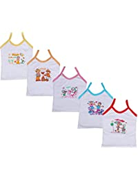 Indistar Girls Pure Cotton Cartoon Print Slips/Vests (Pack of 5)