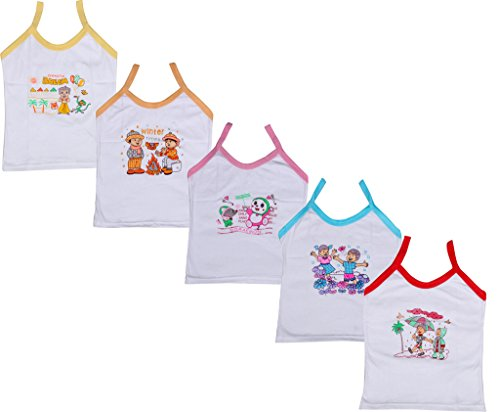 Indistar Girls Pure Cotton Cartoon Print Slips/Vests (Pack of 5)_Multiple_6-8 Years