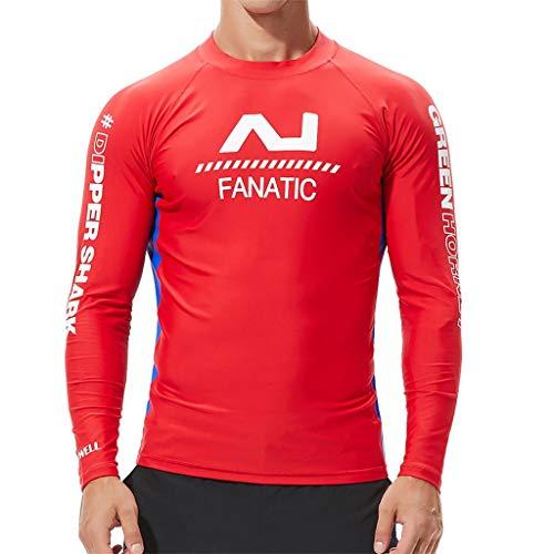 Herren Wasserski T-Shirt Surfbekleidung Langarm leicht zu trocknen seedicht surf top Sportstrumpfhose 4 Farben(rot, XL)