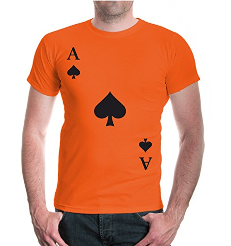 (buXsbaum Herren Unisex Kurzarm T-Shirt Bedruckt Ass-Karte-Pik | Spielkarte Kostüm Kartenspiel | M Orange-Black Orange)