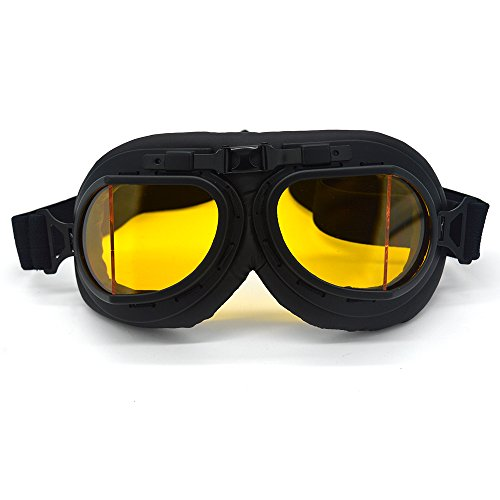 SummShine Black Retro Motorrad Schutzbrille Aviator Pilot Chopper für Half Face Helm Motorradbrille Biker Cruiser Pilot Fliegerbrille Motocross Cruisers Helm Brille (Gelb)