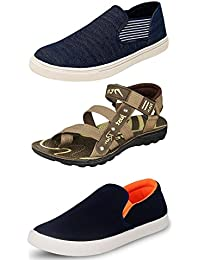 Jabra Men's Blue Sneakers and Brown Floaters (Combo of 3)
