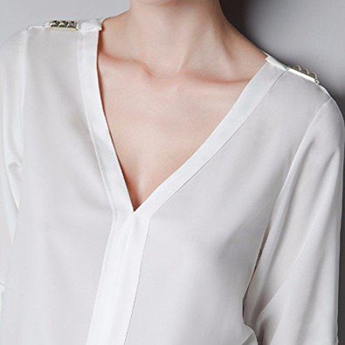 Manches Longues Col V En Mousseline De Soie Polyster Tops Tees Femmes Chemise Decontractee Blouse Blanc