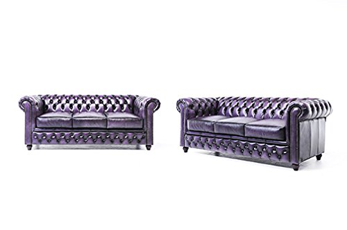 Original Chesterfield Sofas – 3 / 3 Sitzer – Vollständig Handgewaschenes Leder – Antik Violett
