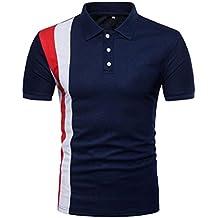 Longra☾ Camiseta Hombre, Hombres de la Personalidad de Moda de Manga Larga Remiendo Delgado Camiseta de Manga Corta Blusa
