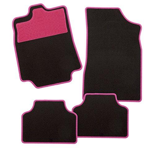 CarFashion 270377 Colori Pink AL1 | Auto Fussmatte in schwarz | Automatten | Trittschutz in Pink | pinkfarbige Hochglanz Kettelung | Auto...