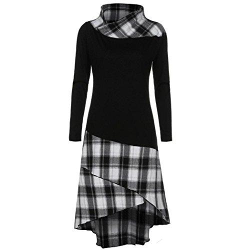 Kleider ,Frashing Lace Plaid Panel Plus Size Kleider Women's Long Sleeve Beiläufige Loose T-Shirt Dress Blouse Top High Neck Plaid Muster Patchwork Kleid Langarm Kleid (XL, Schwarz) (High Neck T-shirt)