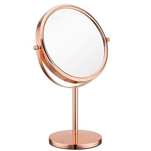 LXD HD Schminkspiegel, 360 & Deg; Rotierende Tischplatte 8 Zoll 1X / 10X Vergrößerung runder Kosmetikspiegel für Make-up, Rasur und Gesichtsbehandlung (Rotgold) (Tischplatte, Licht Stehen)