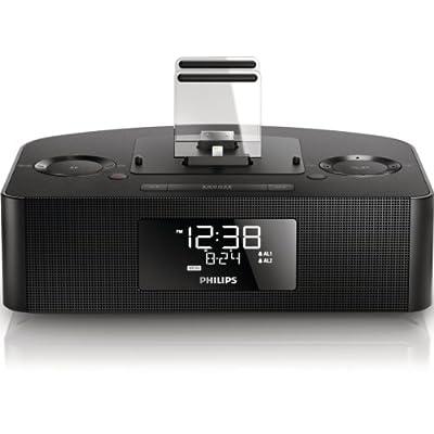 Philips AJ7260 Radio réveil station d'accueil iPod/iPhone avec tuner FM, réglage de l'heure automatique, batterie de secours, Noir de Philips