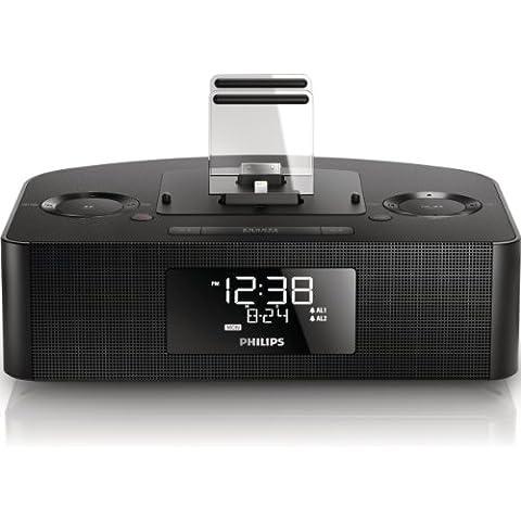 Philips AJ7260D/12 - Radio despertador con triple carga y base dual para iPod/iPhone/iPad (USB, FM, alarma dual), negro