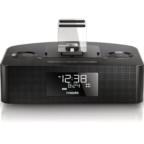 Philips AJ7260 Radio réveil station d'accueil iPod/iPhone avec tuner FM, réglage de l'heure automatique, batterie de secours, Noir