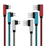 3 pezzi angolo retto Micro USB dati di ricarica cavo, 3ft+6ft+9ft 90 grado intrecciato cavo USB Charger per Android Samsung/LG/Huawei/Sony e più micro dispositivi USB