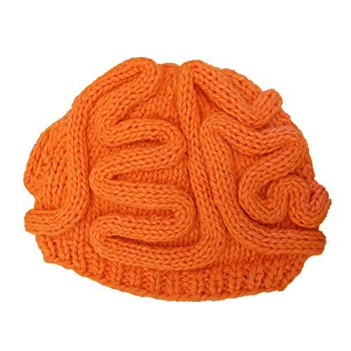 ECYC personalisierte handgefertigte gestrickte Gehirn Mütze, Halloween Cosplay Hüte Jungen Mädchen häkeln Mütze, Orange
