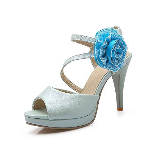 Voguezone009 Senhoras Couro Pu Pura Cabeça Puxar Sapatos De Salto Alto De Peixe No Sandálias Com Alta Azul