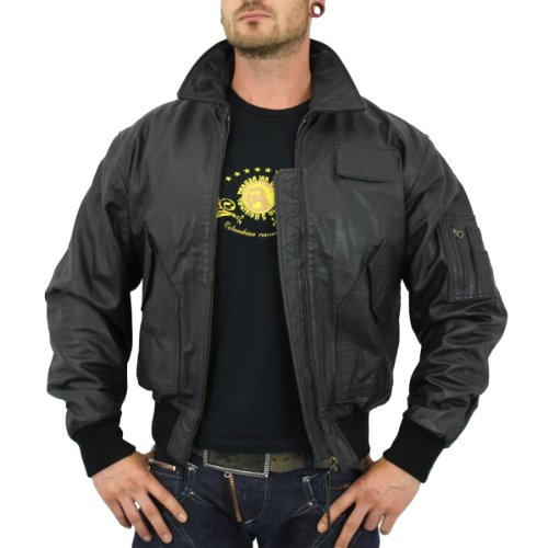 buy popular a26d2 ab7cb Alpha Industries Lederjacke CWU Leather black - schmal und ...