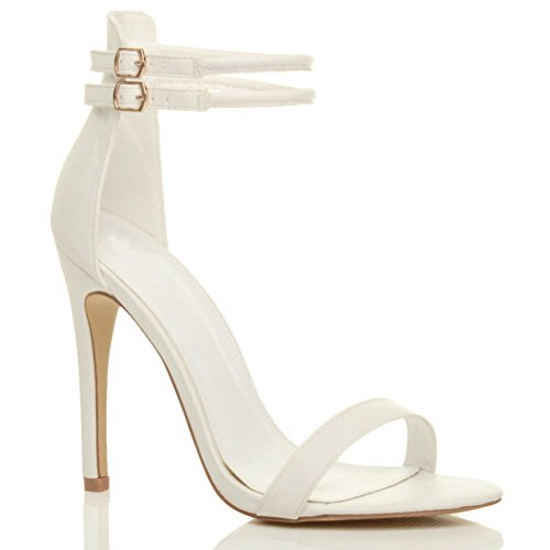 Damen Hohen Absatz Kaum Dort Fesselriemen Schnalle Stilettos High Heels Sandalen Schuhe Größe Weiß Matte