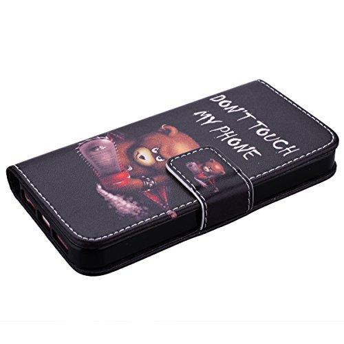 HB-Int 3 en 1 PU Cuir Housse Etui pour Apple iPhone SE / 5 / 5S Élégant Motif Coque Protecteur Stand Fonction Couverture Flip Wallet avec Lanyard Cover Case Card Slots Book Style Coque Magnétique Anti Ours