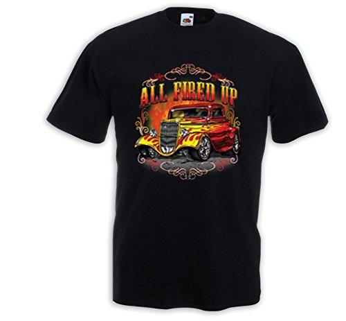 Hot Rod T-Shirt All Fired Up Vintage Zündkerze Rockabilly V8 Rat Rod Schwarz