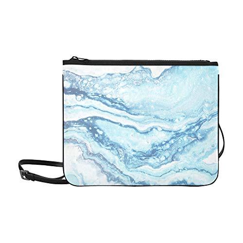 WYYWCY Blauer Marmor Kreative Abstrakte Muster Benutzerdefinierte hochwertige Nylon Schlanke Clutch Crossbody Tasche Umhängetasche - Kobalt-boden