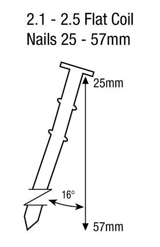 Tacwise FCN57V Cloueur pneumatique à rouleau pour Clous 25-57 mm